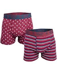 Original Penguin Mens Striped 2 Pack Boxer Shorts Red 1 Striped 1 Pattern
