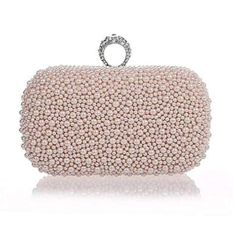Women Metal Event/PartyEvening Bag .Fashion, Pearl ring . high quality.White, Pink,Black , nude