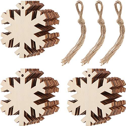 Tatuo 30 Stück Holz Schneeflocke Ausschnitte Weihnachten Holz Schneeflocke Dekorationen mit 30 Stück Schnur Seile für Kinder Handwerk Weihnachtsschmuck (Dekorationen Schnur Schneeflocke)