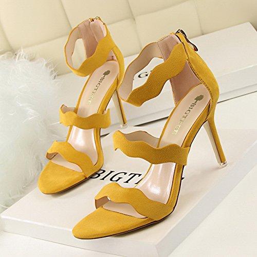 LGK&FA Cavo Sottile Stilettos Con Un Sottile Tutti-Match Wave Suede Sandali 34 Grigio 35 yellow