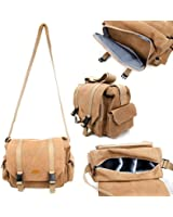 Tan-Brown Large Sized Canvas Carry Bag With Multiple Adjustable Storage Compartments and Long Shoulder Strap for DSLR / SLR / Compact Cameras - by DURAGADGET