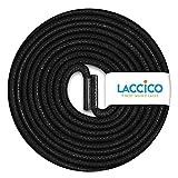 LACCICO Finest Waxed Laces - Durchmesser 2,5 mm, robuste gewachste premium Schnürsenkel; Farbe:Schwarz, Länge:75 cm