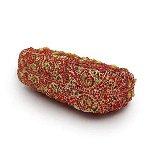 Frauen Paket Luxus-Diamant-Abendbeutel Kristallbrautbeutel Bankett Red
