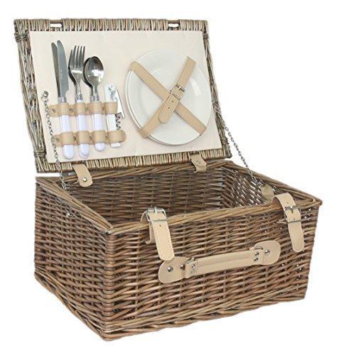 Klassisches, antikes Design, für 2 Personen, Weidengeflecht, Fitted Picknick-Korb,