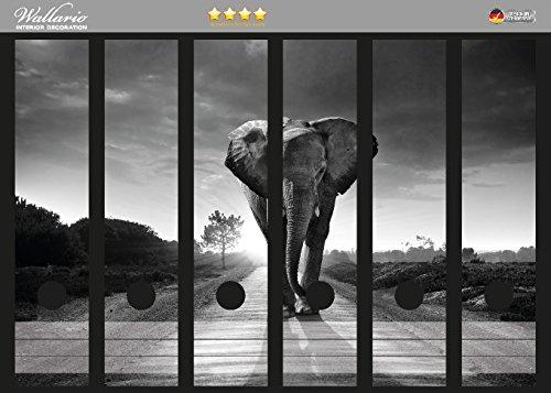 Eine Breite Von Sechs Tier (Wallario Ordnerrücken Sticker Elefant bei Sonnenaufgang in Afrika schwarzweiß in Premiumqualität - Größe 36 x 30 cm, passend für 6 breite Ordnerrücken)