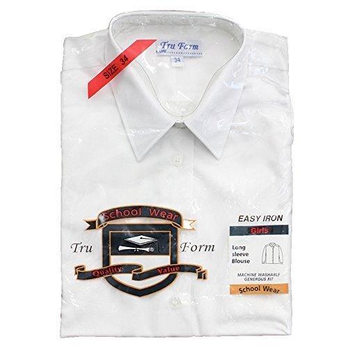 Da Bambina Per La Scuola Camicia Camicetta Uniforme Elegante A Maniche Lunghe Con Colletto Bianco Nuovo Alla Moda - Bianco - SCUOLA, 7-8 Years