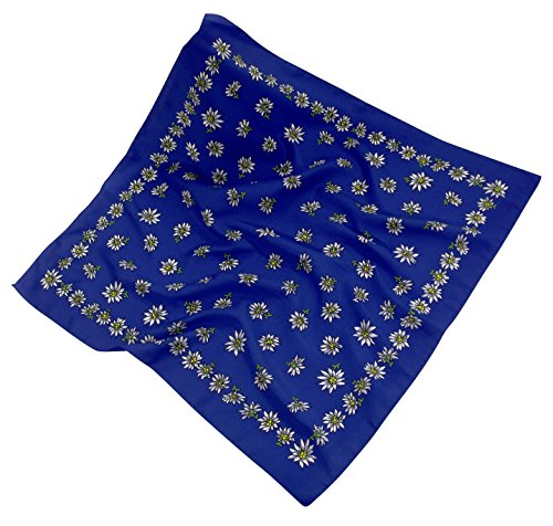 Teichmann Mittel-blaues Nickituch im Edelweißdesign | Bandana aus Polyester Satin aus Italien | 60 x 60cm | Halstuch