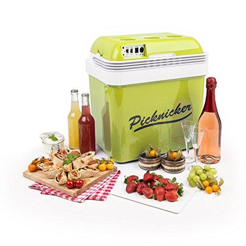 Klarstein • Big Picknicker • Thermo-Kühlbox • Warmhaltebox • Thermobox • Mini-Kühlschrank • 24 Liter • 48 Watt • leiser ECO-Modus • AC / DC Netzkabel • 2 Betriebsmodi • Tragehenkel • herausnehmbarer, spülmaschinengeeigneter Gittereinsatz • ca. 3,0 kg • grün