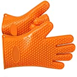 MasterStor Barbecue Oven Mitt Cooking Gloves - Protect Your Hands Kitchen Use - Sold by Pair (Orange)