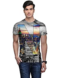 Wear Your Mind Multi-Coloured Poly Cotton Round Neck Printed T-shirt For Men CST099