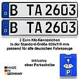 2 DIN-zertifiziertes Kfz-Kennzeichen in der Standard-Größe 520x110 mm inklusive Parkscheibe passend für alle deutschen Fahrzeuge