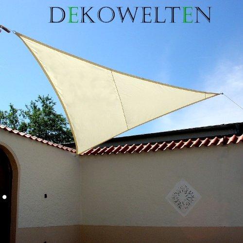 Dekowelten LUXUS Terrassen Sonnensegel dreieck der ExtraKlasse 3,75m wasserdicht CREME Regenschutz Windschutz