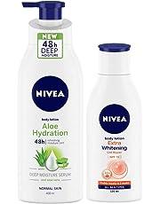 Nivea Aloe Hydration Body Lotion, 400ml and Extra Whitening Body Lotion, 120ml