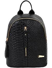 Bolso, Manadlian Moda Mujer Mochilas Bolsa de viaje Mochilas de cuero (24cm*20cm*10cm, Negro)
