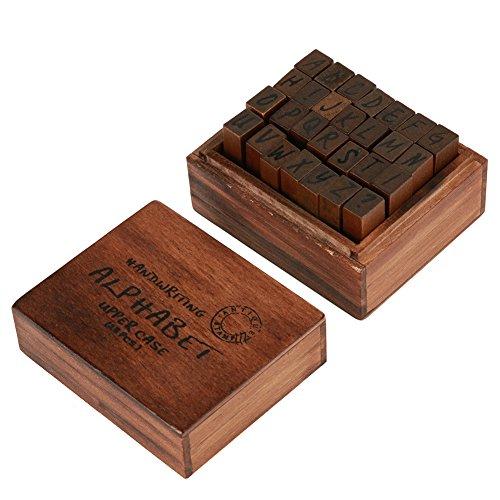 Holz Gummi Buchstabe Nummer Stempel-Set, 28Stück Vintage Craft Alphabet Buchstabe Nr. Gummi Stempel Set Holz Box für Kinder DIY Scrapbooking Planer Karte machen