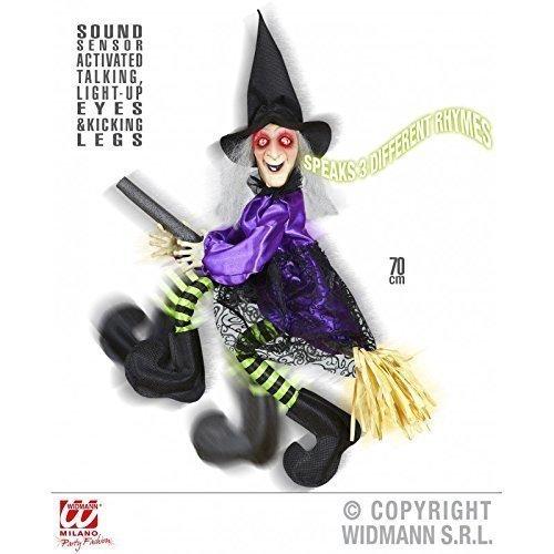 Lively Moments Hexe sprechend auf Besen ca. 70 cm als Halloweendeko / Hexendeko / Fasching / ()