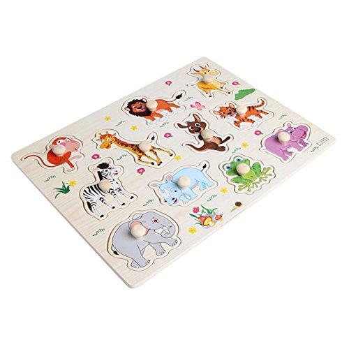 AchidistviQ Holz-Puzzle für Babys, Kinder, Cartoon-Tiere, Lernspielzeug Mehrfarbig