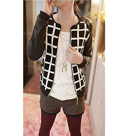 Evtech (tm) Imprimé à manches longues Casual Refroidir Zipper Costume Métal Lumière Blazer Veste Manteau Grille Motif de la femme -