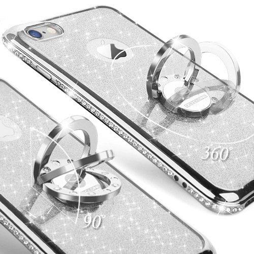 Cover iPhone 6 Plus/6S Plus Glitter Silicone per Ragazze,Kickstand Bling Diamante Brillante Cristallo Lucciante Luminosa Custodia Gel Case per iPhone 6 Plus/6S Plus, 5.5 inch (Trasparente) iPhone 6/6s Argenta