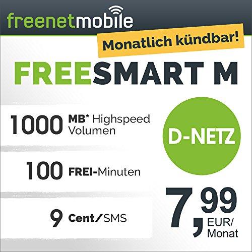 freenetmobile freeSMART M im D-Netz monatlich kündbar (100 Min in alle dt. Netze, EU-Roaming, 1 GB Internet-Flat max. 21 MBit/s, 7,99 EUR/Monat, 25 EUR Rufnummernmitnahme-Bonus)