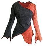 Dark Dreams Alternative Kleidung Gothic Mittelalter Top Zipfel Shirt Tunika Hoodie 36 38 40 42 44 46 grün Oliv und rot schwarz, Größe:L/XL, Farbe:schwarz/schwarz-rot