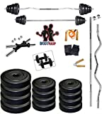 #3: Bodygrip 50Kg Home Gym Set 10Kg X 2, 5Kg X 2, 2.5Kg X 4, 2Kg X 2, 3Kg X 2, 2 Dumbbell Rod Of 14 In, 1 Rod Of 3 Ft Curl, 1 Rod Of 3 Ft Straight, Gloves Pair, Skipping Rope, Hand Grip