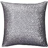 Fundas De Cojines,Xinantime Funda de almohada del brillo del color sólido (Gris)