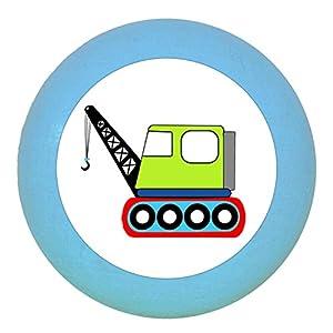 "Türknauf""Kran"" dunkelblau Holz Buche Kinder Kinderzimmer 1 Stück Fahrzeuge Transportfahrzeuge Traum Kind"