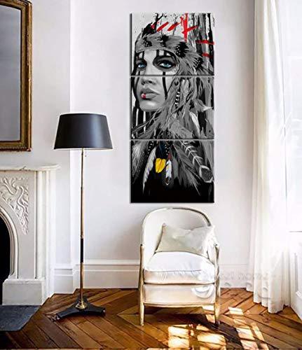 WLHCJJ Enmarcado Figura de Arte en Blanco y Negro Indian Girl Pintura Decorativa Triple Pintura Modern...