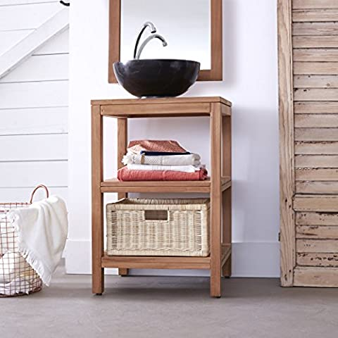 Solid teak wood vanity cabinet wash-stand counter modern design bathroom by Tikamoon