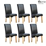 1home 6 x Leather Black Dining Chair w Oak Finish Wood Legs Roll Top High Back