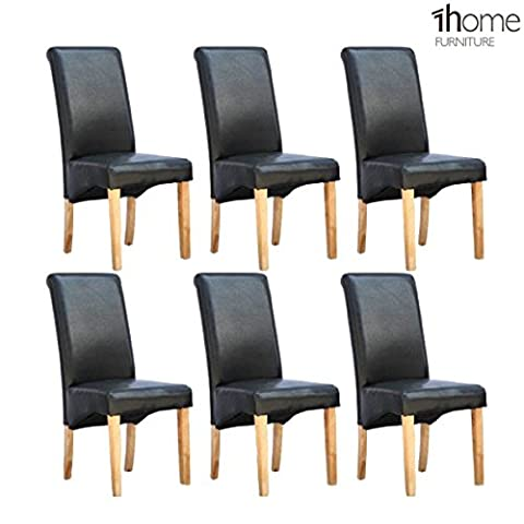6 x 1home Leather Black Dining Chair w Oak Finish Wood Legs Roll Top High Back