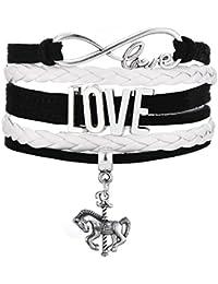 Bracelet tressé multicouche avec breloque motif cheval de carrousel, bijoux pour femme