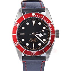 41mm Echtes Leder Saphirglas Aluminium Lünette Miyota Automatik Herren Uhr