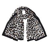 GreatestPAK Damen Leopardenmuster Thema Schal,Schwarz