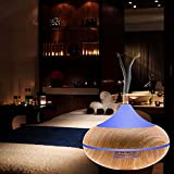 iBazal Essential Oil Diffusers Aromatherapy Aroma Diffusers Scented Oil diffusers Ultrasonic Humidifier Cool Mist Humidifier Air Purifier 500ml, 7 Color LED/Timer Setting/Waterless Auto-off for Home, Office,Yoga, Spa - Yellow