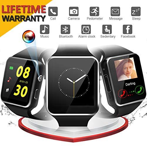 Bluetooth Smartwatch Android, iFuntec Bluetooth Uhr Intelligente mit Kamera Touchscreen Telefon mit SIM TF Kartenslot Smart Armband Uhren Fitness Tracker Armbanduhr Kompatible für Smartphones
