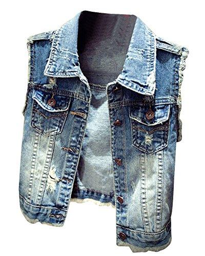 Donna Slim Fit Gilet Jeans Senza Maniche Giacca Corte Eleganti Blu L