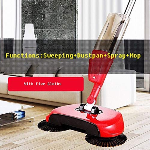 ELECMYL Start Push-Kehrmaschine, Multi-Funktions-Spray Wasser Sweep Mop, Faule Besen Fegen Artifact, Spray Mop, Reinigungswischer,Rot