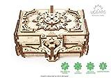 UGEARS Antik-Schatulle 3D Modellbausatz Holztruhe - 3D Holzbausatz Schatzkiste - 3D Puzzle Erwachsene Box - Original Schmuckkästchen Mechanische Modell für Jugendliche und Erwachsene - Schmuckbox