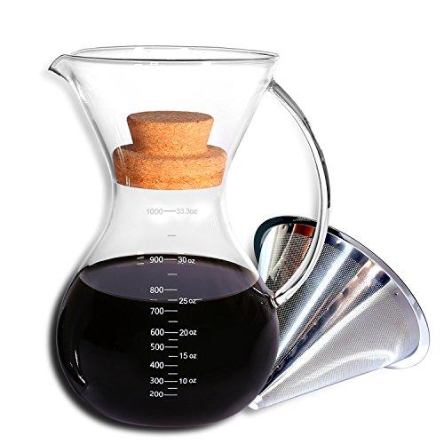 KingTop Pour Over Kaffeezubereiter mit Edelstahl Permanentfilter Kaffeebereiter 1 L