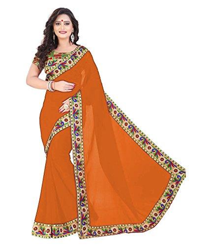 D7 Fashion Women's Orange Color Chiffon Silk Saree With Blouse Piece.