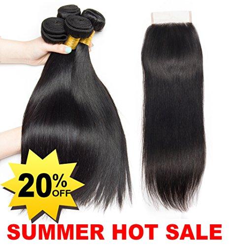 Ladiary tissage bresilien avec closure lisse tissage naturel closure frontale 10A Top Qualität cheveux humain naturel brésilienne 340g (12 14 16+10) pouce