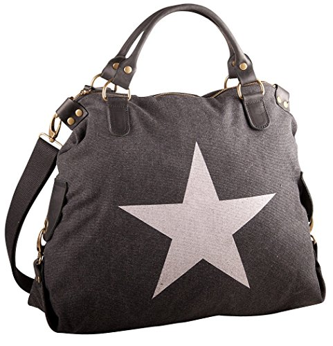 Pelle Italy Damen Shopper Tasche A4 40x38x13 cm (BxHxT), Farbe:Schwarz Schwarz