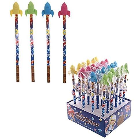 fantaisie enfants Rocket Motif crayon et gomme–Longueur totale 18cm 17cm crayon gomme 3x 2.5x 1.5cm