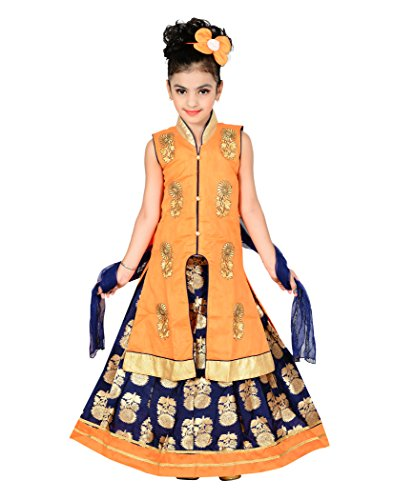 P R Girls Ethnic Wear Orange Color Self Design Lehenga, Choli and...