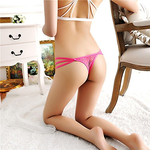 AIMADO Damen String mit Riemchen Schmetterling erotik Panties elastischer Slip Tanga Rosa