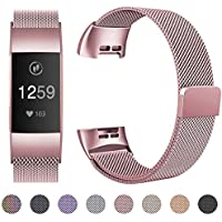 HUMENN Compatible for Fitbit Charge 3 Strap, Milanese Metal Replacement Band Fully Adjustable Wristbands with Strong Magnet Lock for Fitbit Charge3, Small Large
