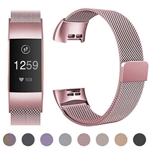 HUMENN Armband Kompatibel mit Fitbit Charge 3, Milanese Ersatz Fitness Armbänder Voll Einstellbare Metall Wristband mit Starkem Magneten Sperren, Klein Neu Roségold
