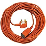 Spares2go 15 Metre Mains Power Cable & Lead Plug for Bosch Rotak Lawnmower (15m)